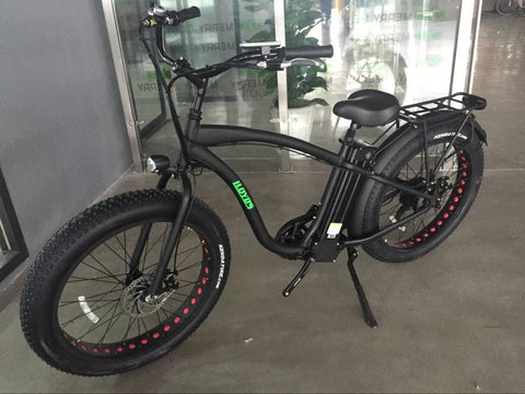 Step-Over Electric Fat Tire Bicycle-Matte Black
