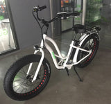 Step-Through Electric Fat Tire Bicycle-White