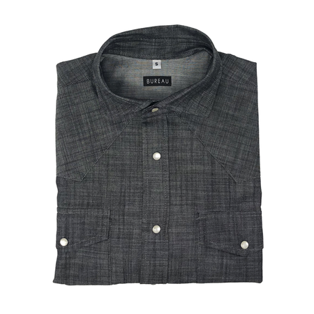 Dark Grey Denim Western Snap Shirt