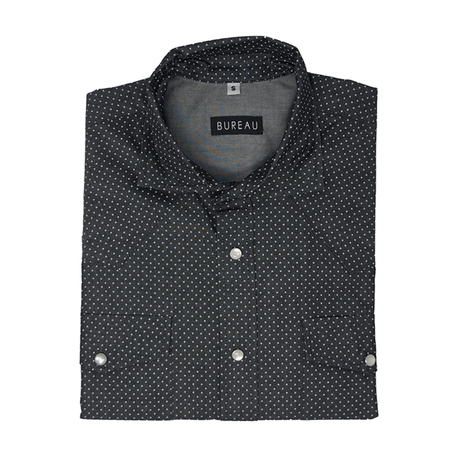 Dotted Dark Grey Denim Western Snap Shirt