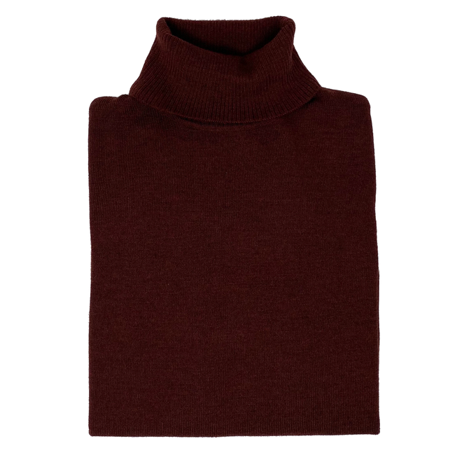 Burgundy Roll Neck Sweater