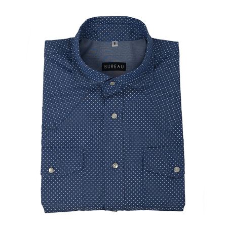 Dotted Blue Denim Western Snap Shirt