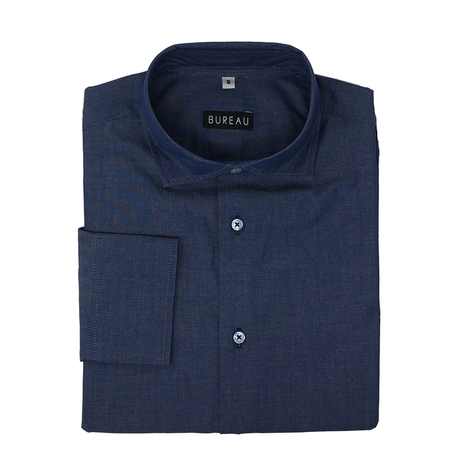 Dark Blue Denim Dress Shirt