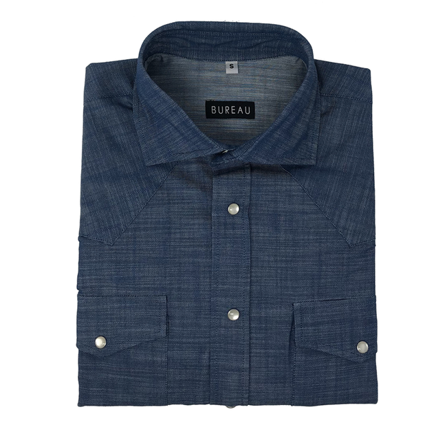 Blue Denim Western Snap Shirt