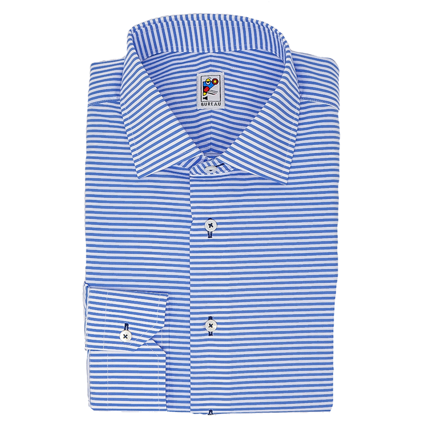 Light Blue Horizontal Stripe Dress Shirt