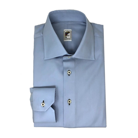 Soft Blue Barrel Cuff Dress Shirt
