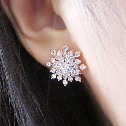 Ladies Crystal Snow Flake Bijoux Statement Stud Earrings For Women Earring Fashion Jewelry Free Shipping E271