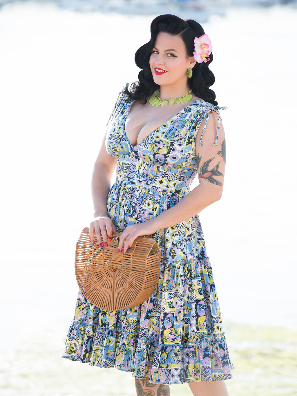 Audra Dress TikiTastic Tiki Hawaiian Print Aloha Fish Vintage Inspired Pinup Clothing Retro Rockabilly 1950s Made in the USA