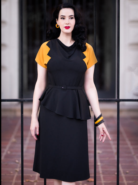 PRE-SALE ~ Lana Dress, Black/Mustard - miss nouvelle vintage inspired pinup rockabilly 1950s retro fashion