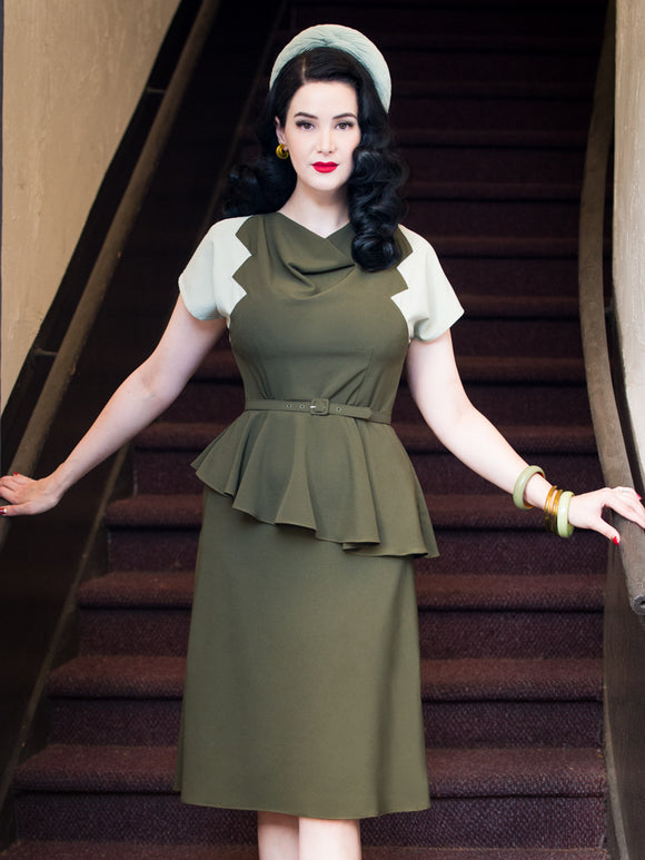PRE-SALE ~ Lana Dress, Olive/Sage - miss nouvelle vintage inspired pinup rockabilly 1950s retro fashion