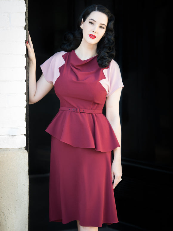PRE-SALE ~ Lana Dress, Merlot/Rose - miss nouvelle vintage inspired pinup rockabilly 1950s retro fashion