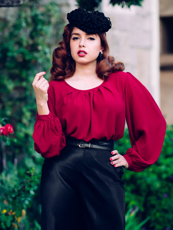 Rita Blouse, Burgundy - miss nouvelle vintage inspired pinup rockabilly 1950s retro fashion