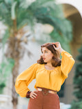 Rita Blouse, Mustard - miss nouvelle vintage inspired pinup rockabilly 1950s retro fashion