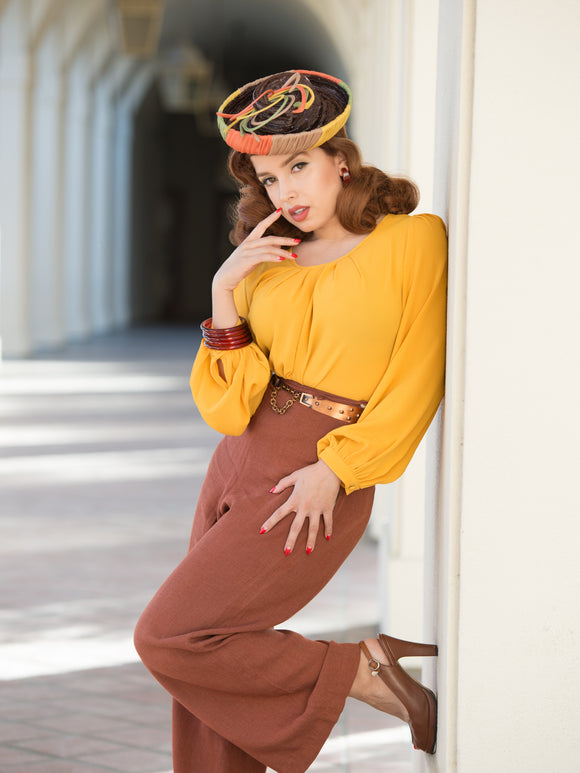 Rita Blouse Mustard Atomic Mid Century Modern Vintage Inspired Pinup Clothing Retro Rockabilly 1940s Tilt Hat 1950s Made in the USA
