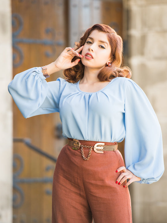 Rita Blouse Peri Blue Atomic Mid Century Modern Vintage Inspired Pinup Clothing Retro Rockabilly 1940s Tilt Hat 1950s Made in the USA