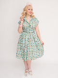 Emily Ann Dress Atomic Blue Aqua Mid Century Modern Vintage Inspired Pinup Clothing Retro Rockabilly 1950s Made in the USA