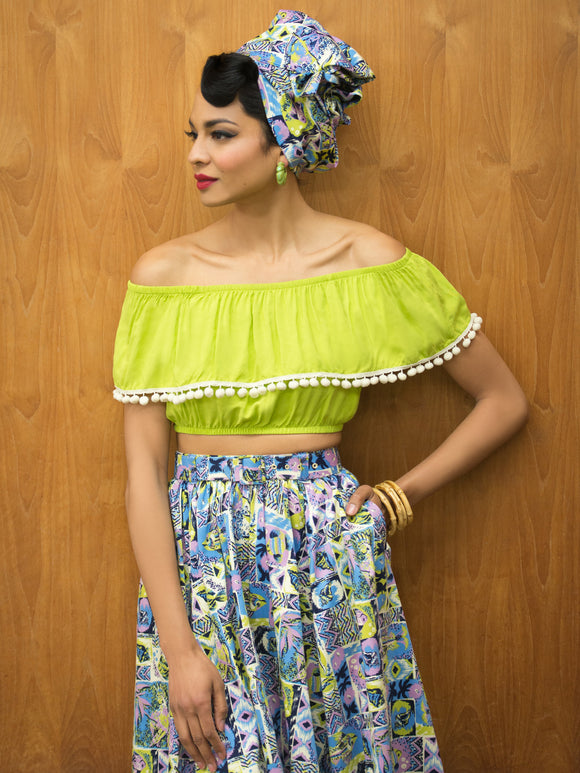 Shimmy Crop Top Lime Green Pom Pom Trim Cha Cha Mid Century Modern Vintage Inspired Pinup Clothing Retro Rockabilly 1950s Made in the USA