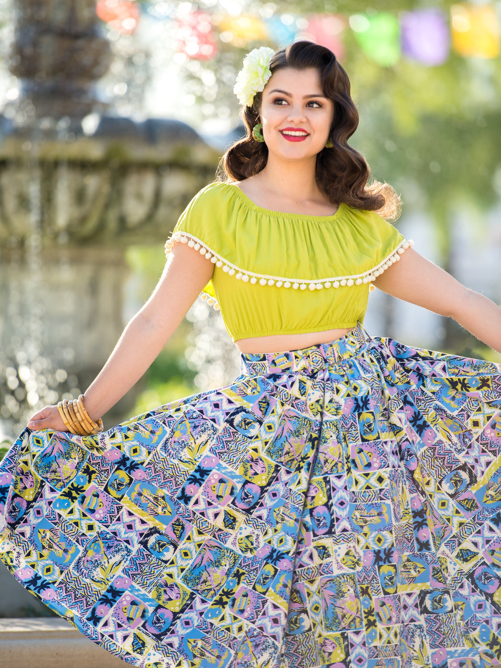 Twirl Skirt Tikitastic Tiki Tikio Tiki Oasis Hawaiian Print Aloha Lime  Matching Belt Pockets Mid Century Modern Vintage Inspired Pinup Clothing Retro Rockabilly 1950s Made in the USA