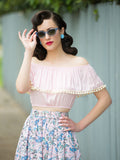Shimmy Crop, Pink - miss nouvelle vintage inspired pinup rockabilly 1950s retro fashion