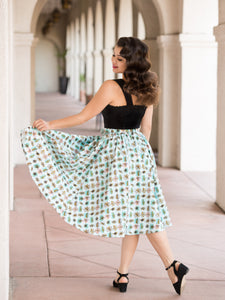Twirl Skirt Atomic Blue Matching Belt Pockets Mid Century Modern Vintage Inspired Pinup Clothing Retro Rockabilly 1950s Made in the USA