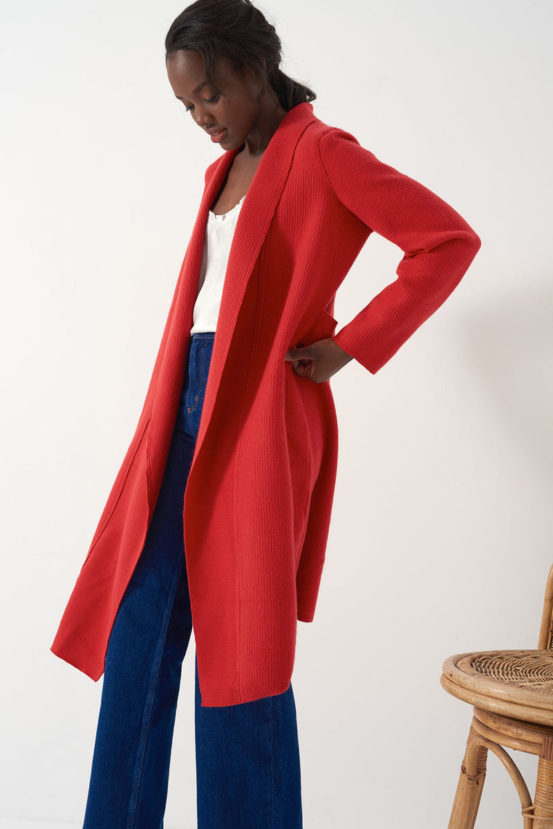 GLORIA RED - Brushed Knit Duster