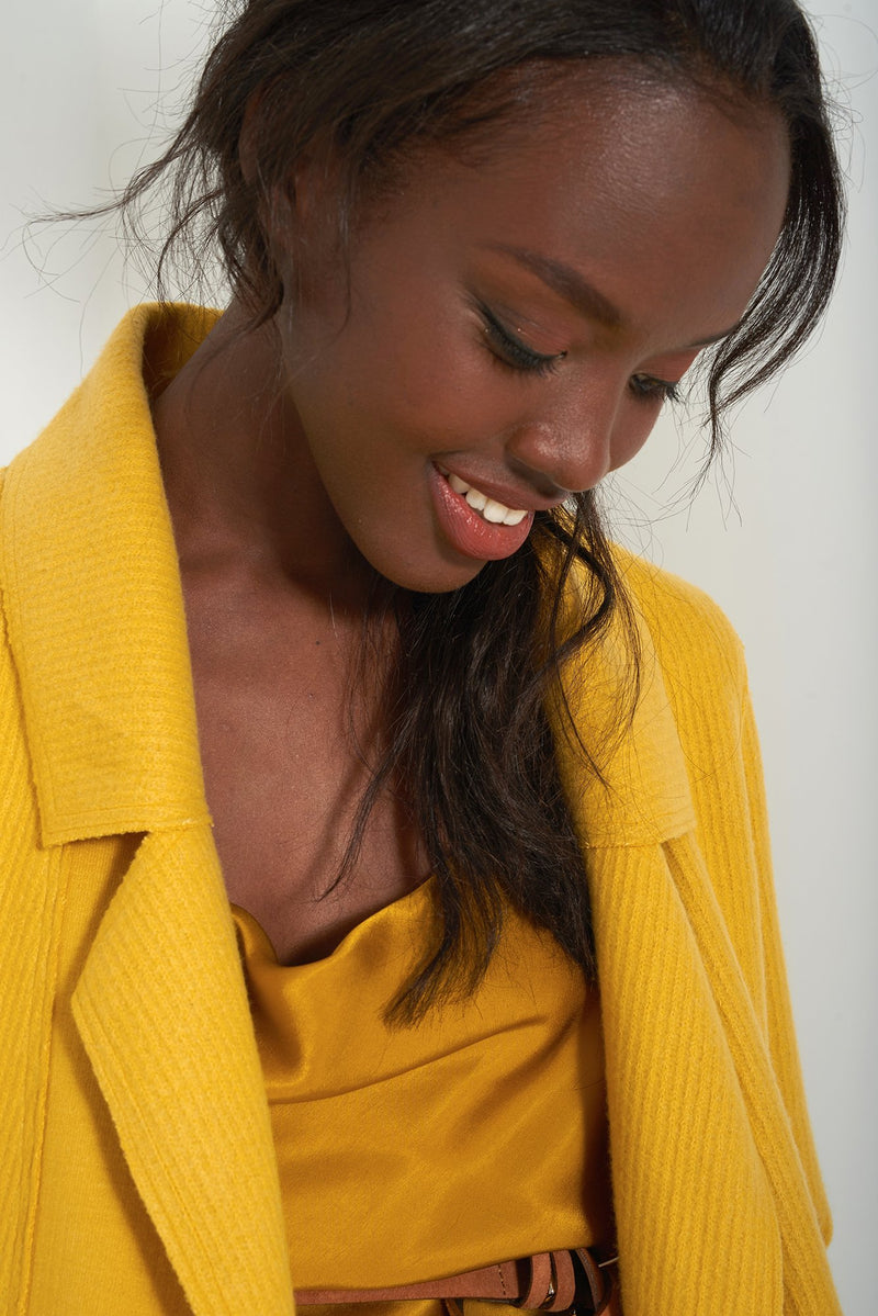 HEIDI MUSTARD - Brushed Knit Duster