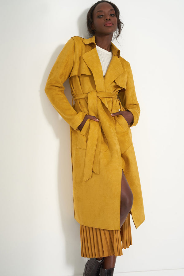 HOLLY MUSTARD - Faux Suede Trench Coat