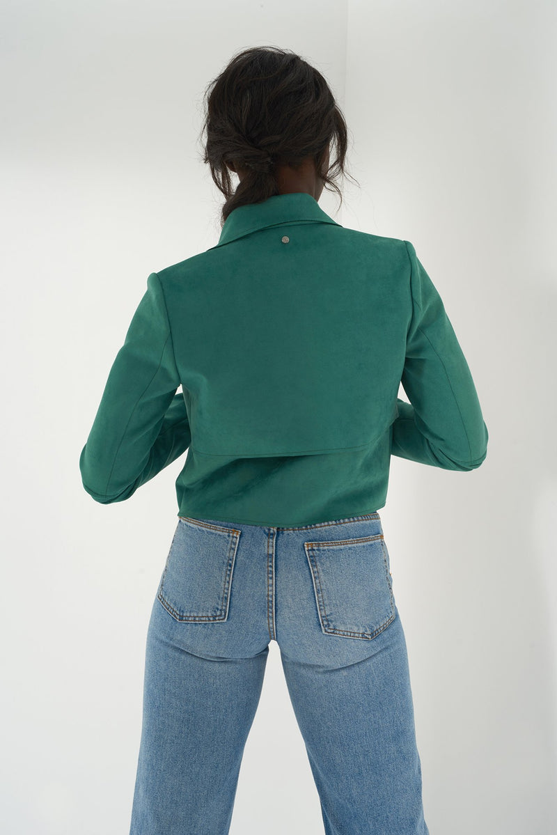 HALLE GREEN - Faux Suede Jacket