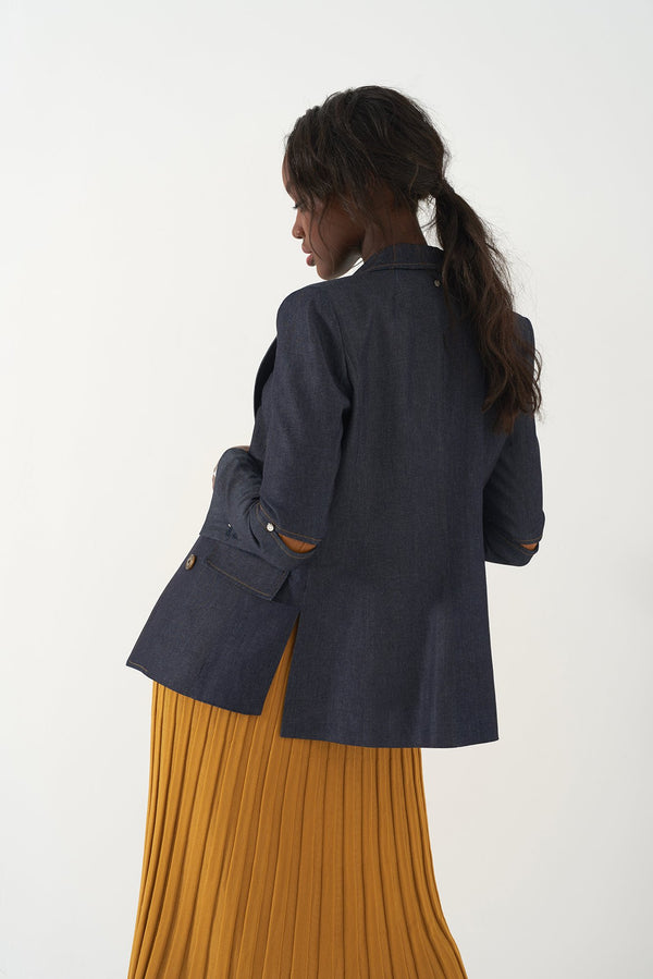 GRACIELLA - Denim Fitted Blazer