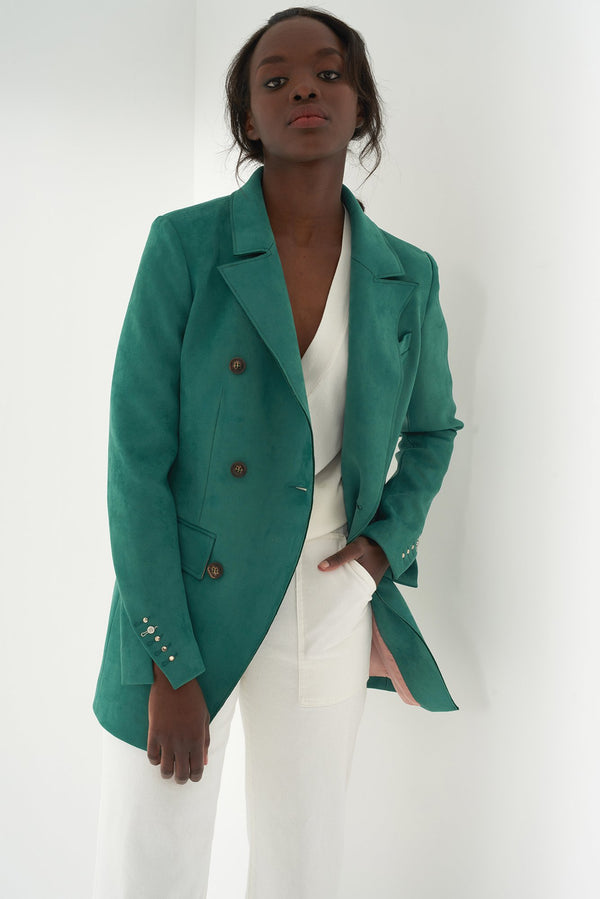 HENLEY GREEN - Long Faux suede Blazer