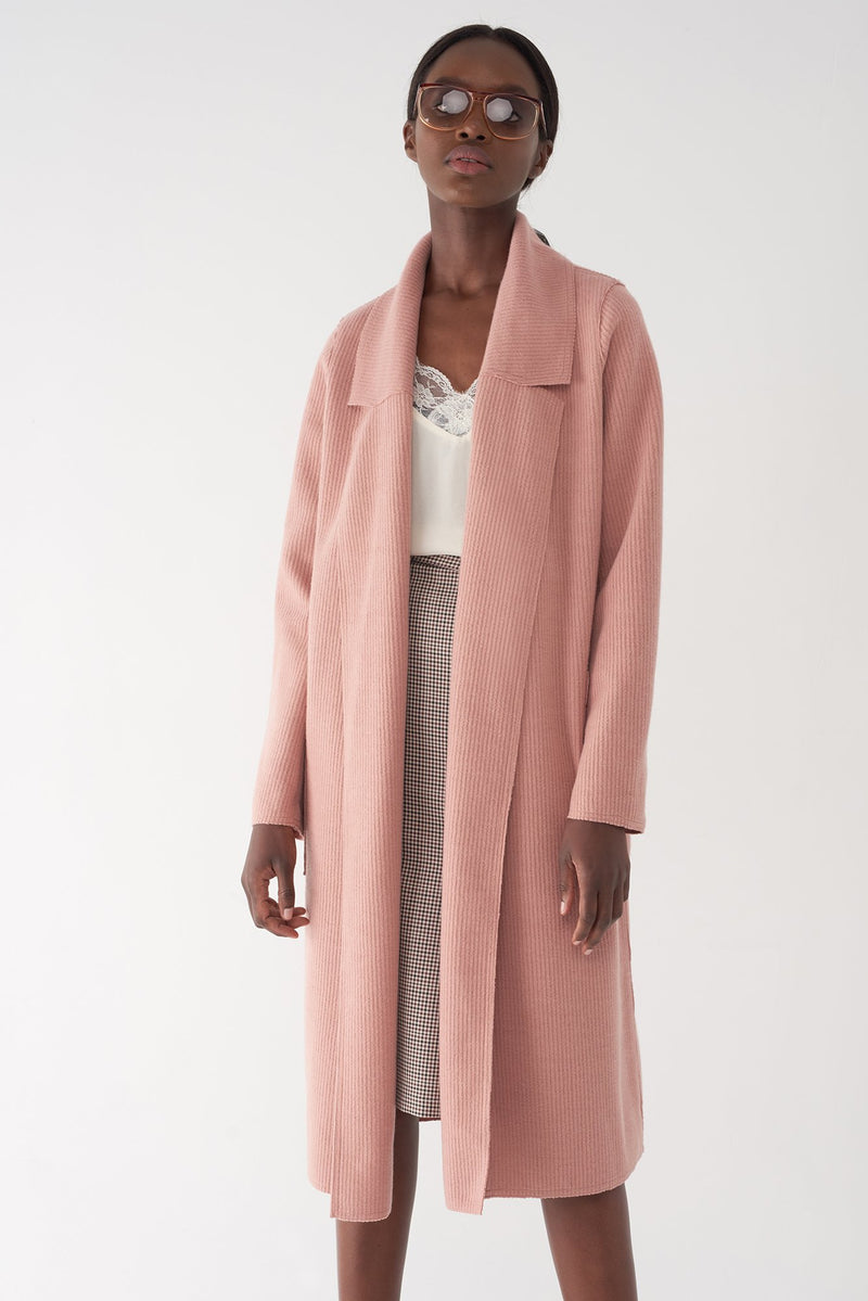 BELLA PINK - Ribbed Brushed Knit Coat