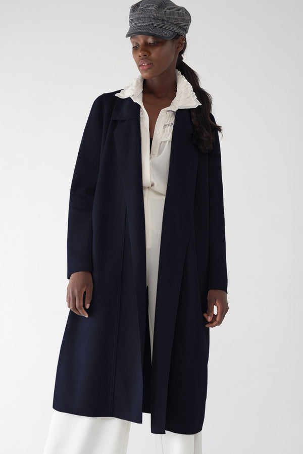 BELLA NAVY - Brushed Knit Coat