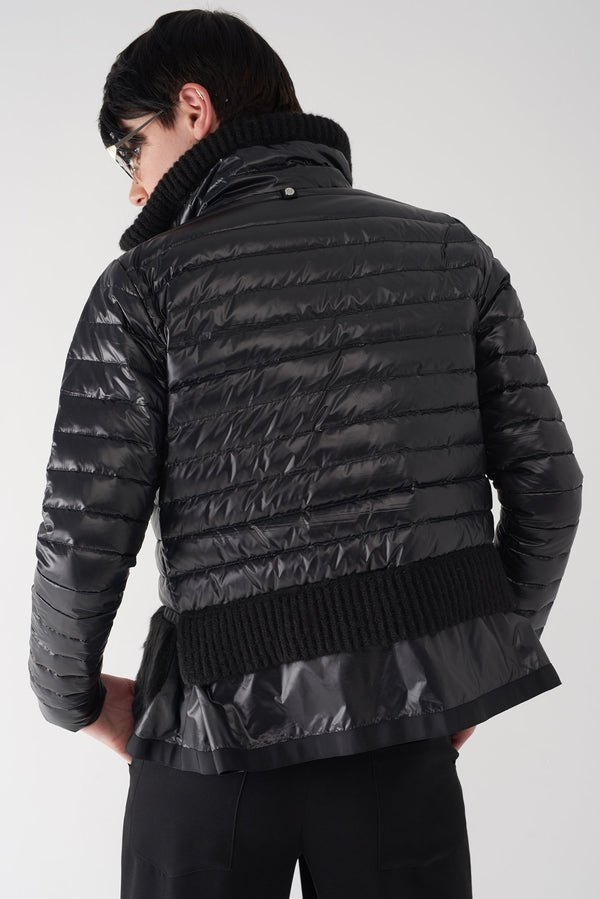 BEV BLACK - Lightweight Puffer Jacket with Fur Trim