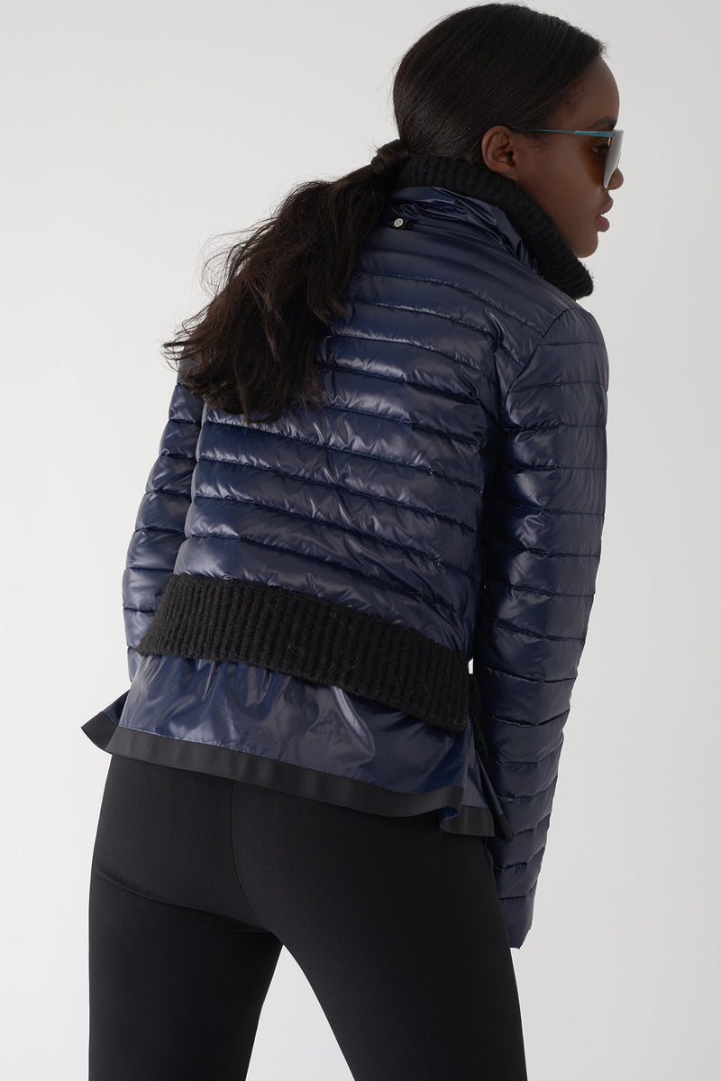 BEV NAVY - Lightweight Puffer Jacket with Fur Trim