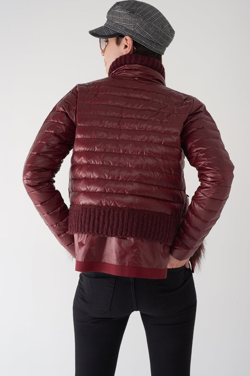 BEV OXBLOOD - Lightweight Puffer Jacket with Fur Trim