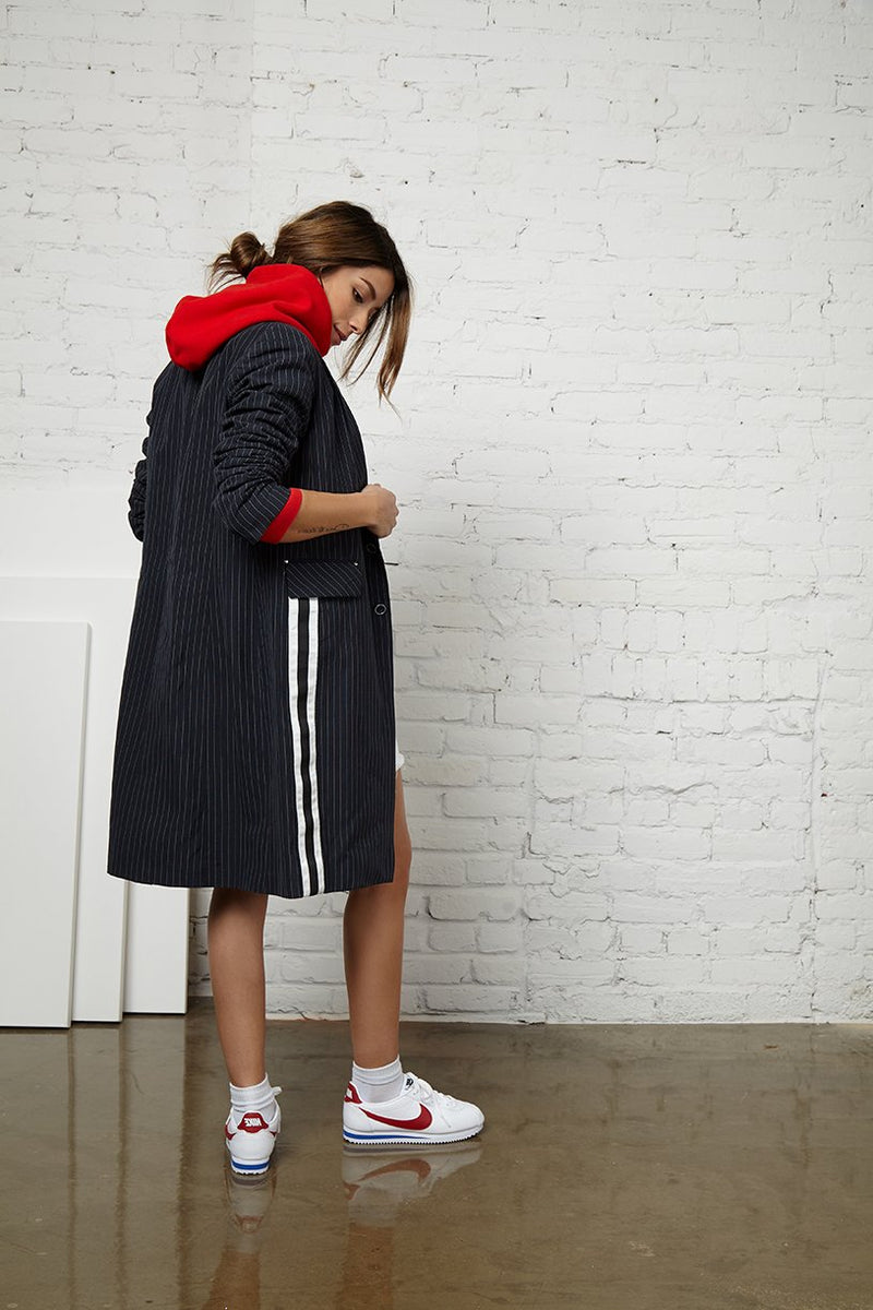 FRED - NVLT Pinstripe linen long coat