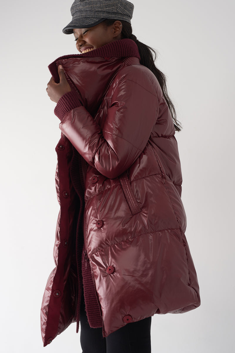 GEN OXBLOOD - Detachable Knit Collar Puffer