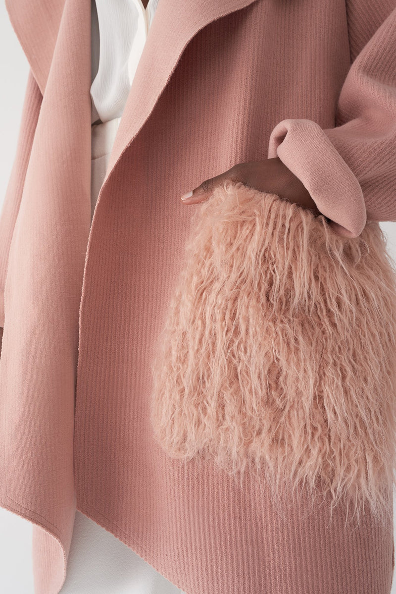 GIOVA PINK - Ribbed Brushed Knit Jacket