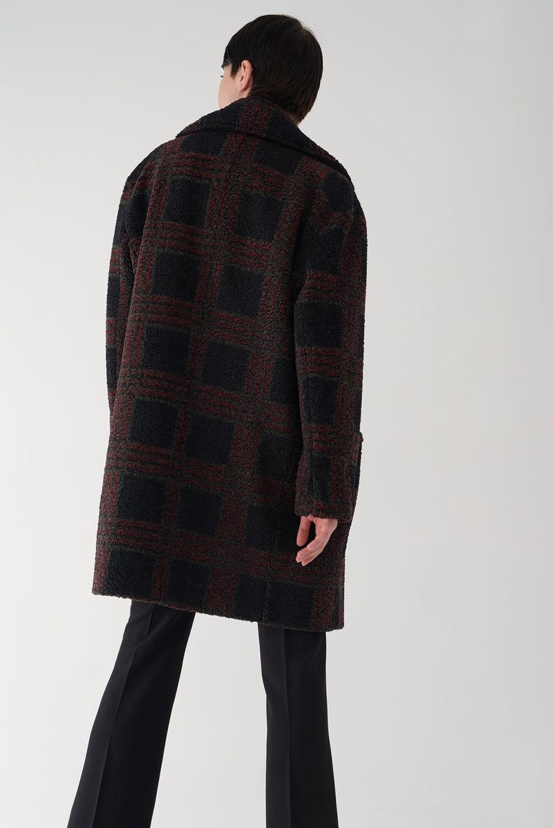 GLEN - Oversized Plaid Teddy Coat