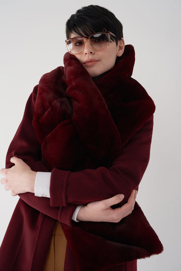 GLIONA OXBLOOD - Fur Trim Down Scarf