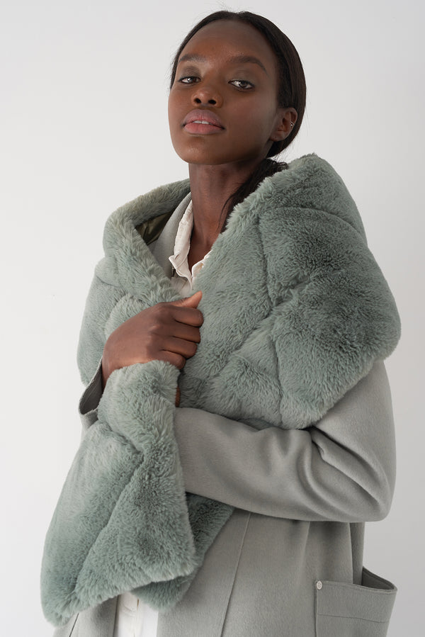GLIONA TEA - Fur Trim Down Scarf