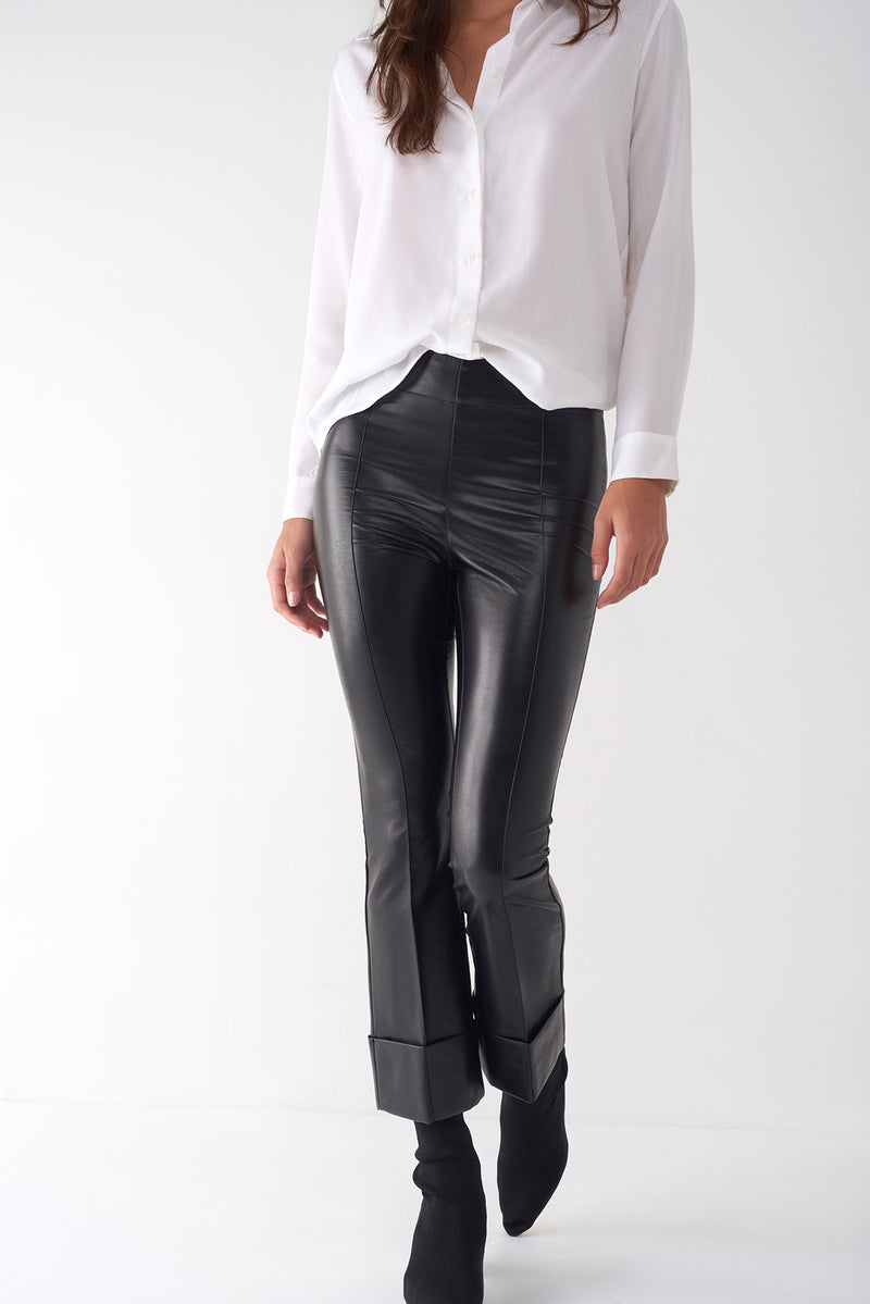 GREG BLACK - Faux Leather Cropped Pant
