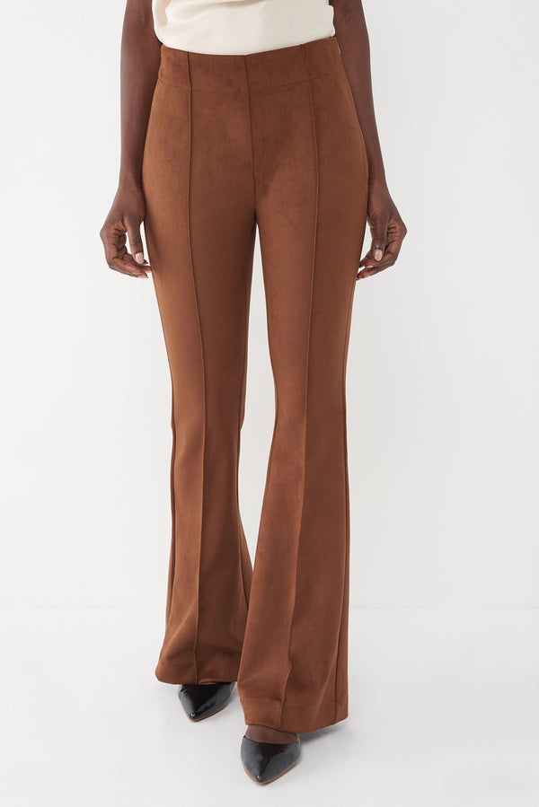 JAMIE - FAUX SUEDE TOBACCO SUITING PANT