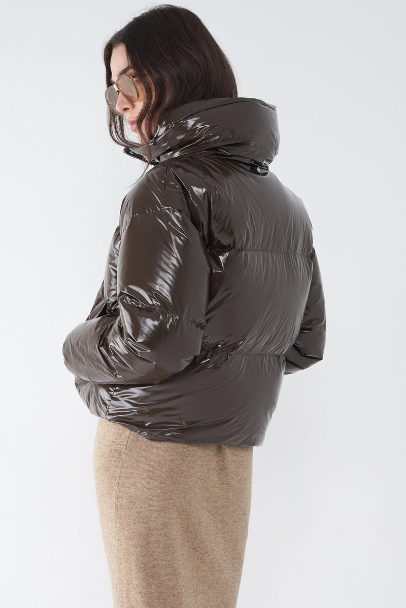 JASIA COFFEE - GLOSSY DOWN JACKET