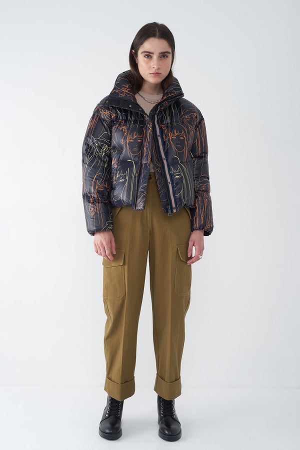 JASIA NAVY - PORTRAIT PRINT DOWN JACKET