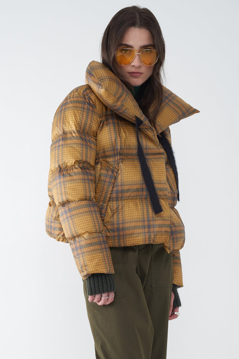 JAZZY YELLOW - WET CIRE PLAID PRINT JACKET