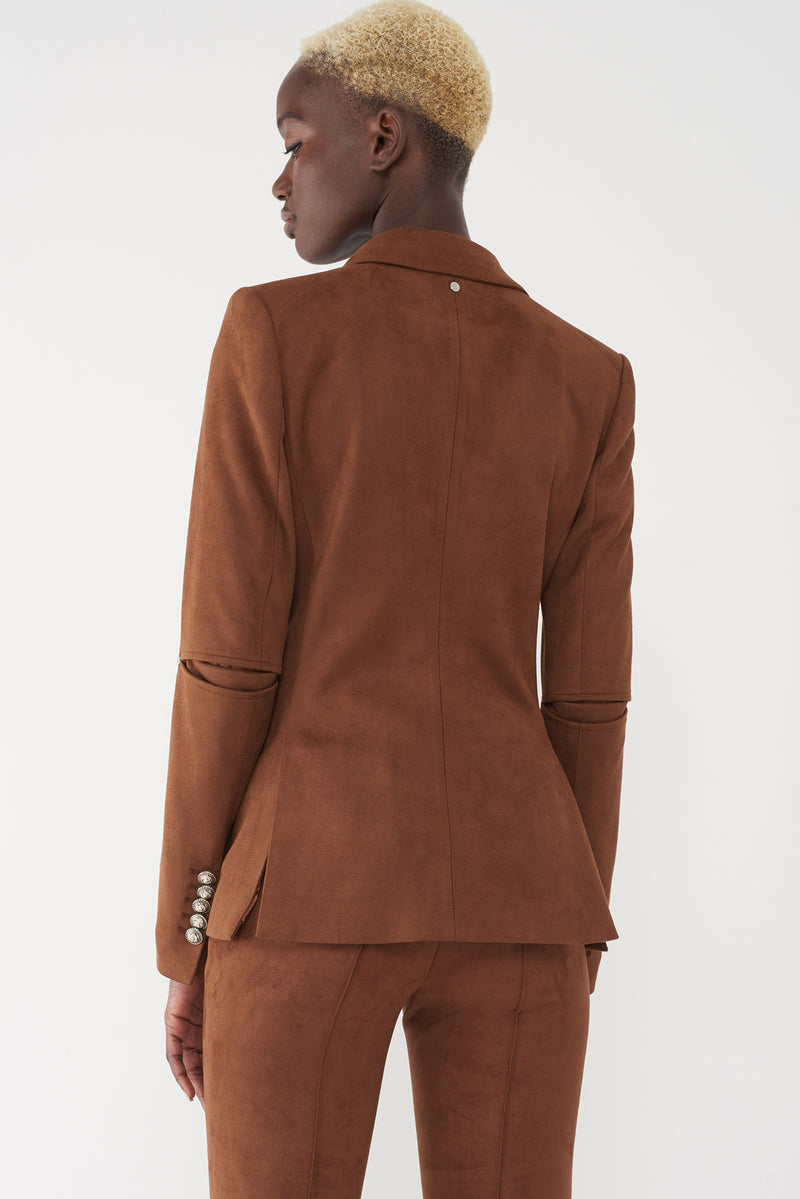 JEAN TOBACCO - FAUX-SUEDE MILITARY BLAZER