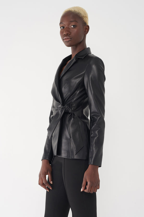 JENIKA - FAUX-LEATHER KNOTTED BLAZER