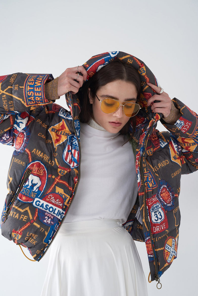 JESSIE - ROAD MAP PRINT DOWN JACKET
