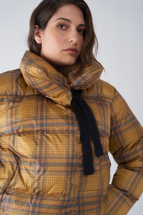 JAZZY YELLOW - SHORT PLAID PRINT JACKET
